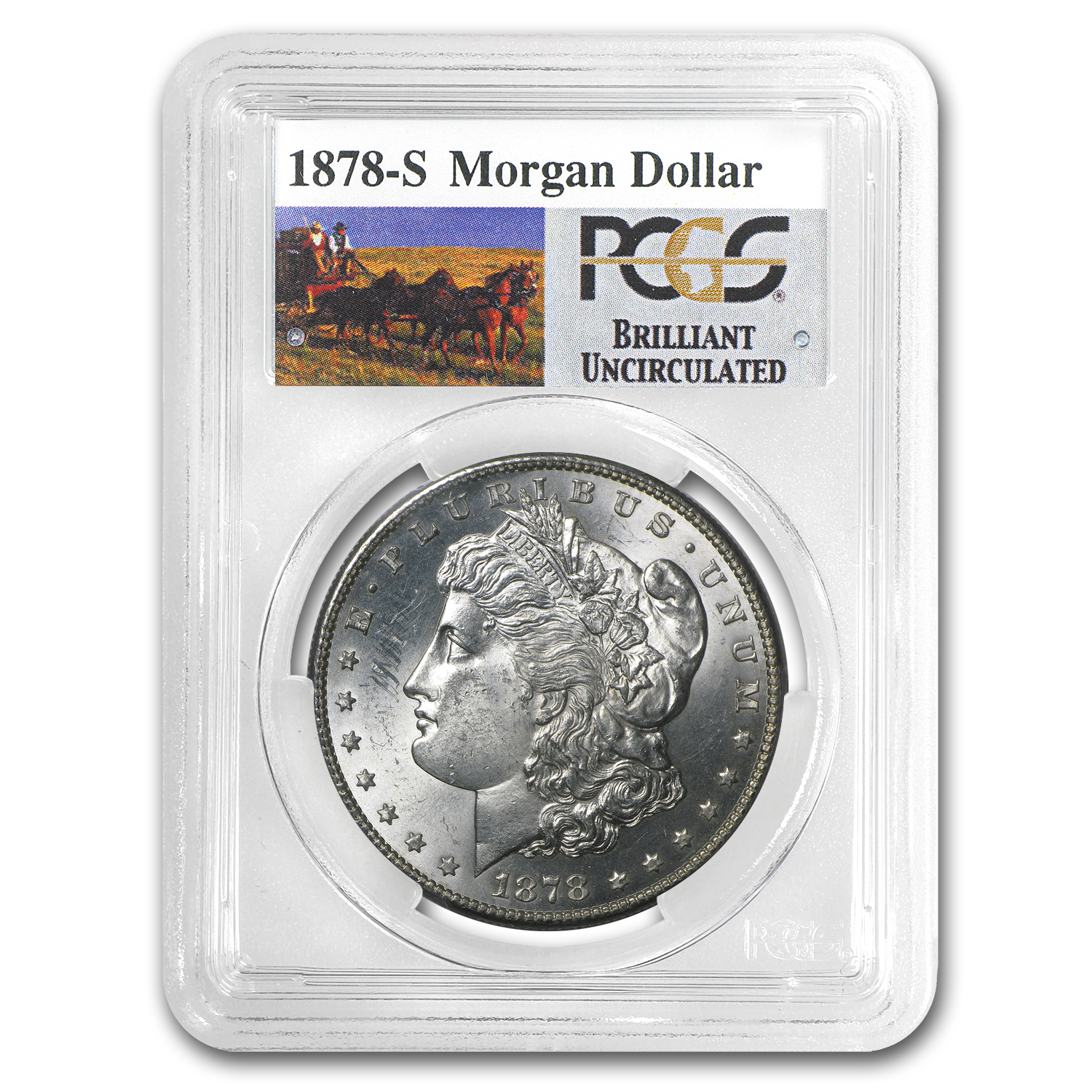 1878-S Brilliant Uncirculated PCGS Stage Coach Silver Dollars